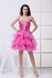 Unique Hot Pink Ruffled Layers Knee-length Cute Homecoming Dresses