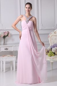 Baby Pink Empire Beaded Pretty Homecoming Long Dresses in Boise