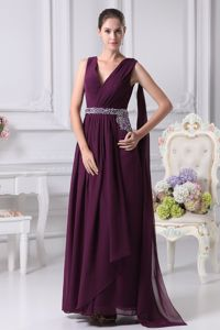 Watteau Train Dark Purple V-neck Prom Homecoming Dress with Beading