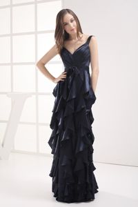 Column Navy Blue V-neck Ruffled Layers Elegant Dress for Homecoming