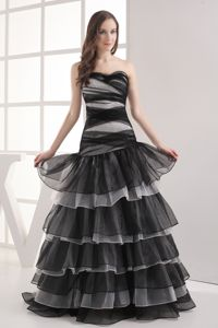 A-line Sweetheart Black Ruffled Layers Graceful Homecoming Dresses