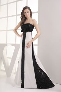 Sequined Black and White Column Strapless Homecoming Evening Dress