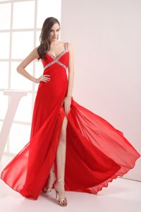 Augusta Straps Empire Beaded High Slit Red Prom Homecoming Dress