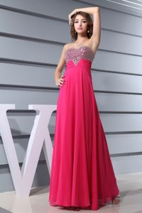 Sweetheart Ankle Length Hot Pink Beaded Formal Homecoming Dresses
