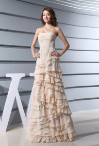 A-Line Ruffled Layers Champagne Homecoming Dress in Providence