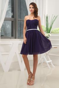 Ruched Empire Purple Strapless short 2013 Prom Homecoming Dress
