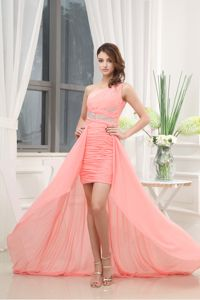 Beautiful One Shoulder Ruched Dress with Special Train for Homecoming