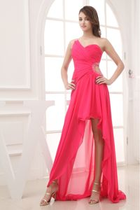 Beaded Side Out Hot Pink High-low One Shoulder Homecoming Dress in US