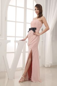 Champagne Empire High Slit Strapless 2013 Homecoming Evening Dress