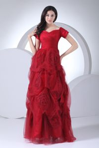 Exquisite Hand Flowers Tulle Homecoming Dress with Short Sleeves