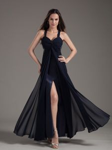 High Slit Navy Blue with Special Back Fashionable Homecoming Dresses