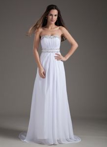White Empire Beaded Strapless Brush Train Casual Homecoming dress
