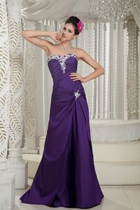 Latest Special Appliqued Strapless Purple Junior Dresses for Homecoming