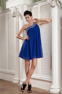 Beaded One Shoulder Mini Chiffon Homecoming Dress Most Popular in US