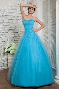 Discount Aqua Blue A-line Beaded Tulle Homecoming Dress Made in Albany