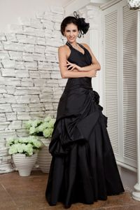 Exquisite Black Pick Up A-line Halter Homecoming Long Dress in Honolulu