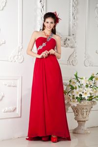 Red Empire One Shoulder Sweep Train Elegant Dress for Homecoming