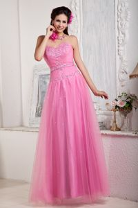 2013 Rose Pink Sweetheart Floor-length Tulle Juniors Homecoming Dress