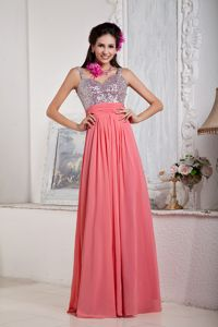 Sparkly Sequined Ankle Length Watermelon Party Dress for Homecoming