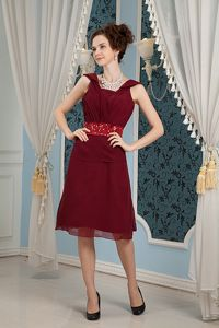 Unique Burgundy Square Knee Length Homecoming Dress with Beaded Belt