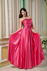 Elegant Empire Strapless Prom Homecoming Long Dress with Hand Flowers