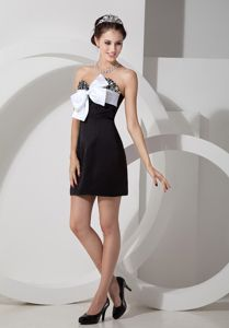 Big Bowknot Unique Beaded Lovely Homecoming Short Dress in Columbia