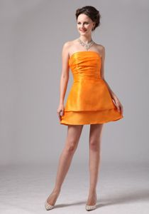 Newest Simple Orange Ruched Satin Mini Sparkly Dress for Homecoming