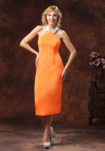 Halter Neckline Tea-length Vintage Homecoming Dresses in Satin Fabric