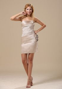 Champagne Strapless Hand Flowers Homecoming Dress Popular in Boston