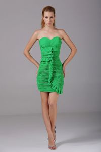 Spring Green Strapless Ruched Cute Homecoming Short Dress on Sale