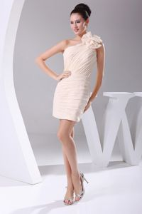 Unique Hand Flower One Shoulder Mini Homecoming Dress in Champagne