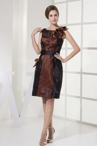Appliqued Bateau Knee-length Homecoming Dress On Sale in Black and Brown