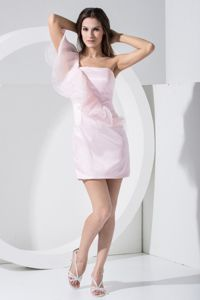 One Shoulder Mini-length Baby Pink Homecoming Court Dress in Saint Charles