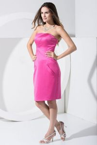 Cheap Hot Pink Strapless Knee-length Vintage Homecoming Dresses in Wheaton