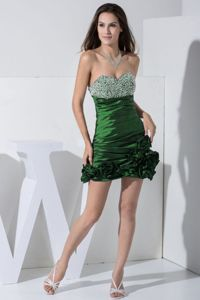 Beaded Dark Green Sweetheart Mini-length Homecoming Dresses with Flowers
