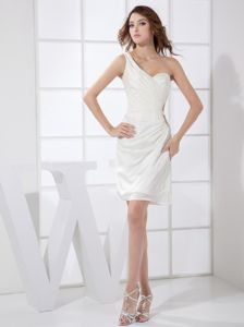 New One Shoulder White Chiffon Designer Homecoming Dresses in Mini-length