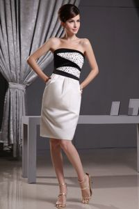Beaded White and Black Strapless Homecoming Dress in Knee-length in Aurora