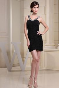 Ruched Scoop Mini-length Black Junior Homecoming Dress in Deerfield Beach