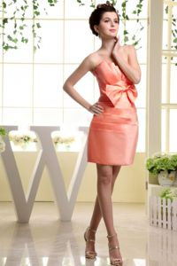 Strapless and Mini-length Homecoming Dress in Watermelon Red with Bowknot