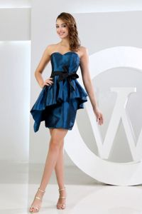 Navy Blue Sweetheart Mini-length Inexpensive Homecoming Dresses with Sash