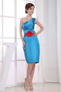 One Shoulder Knee-length Sheath Blue Cute Homecoming Dress with Bowknot