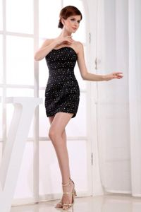 Beaded Sweetheart Mini-length Black Tight Homecoming Dresses in Evergreen