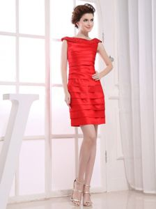 Hot Ruched Bateau Neck Mini-length Inexpensive Homecoming Dresses in Red
