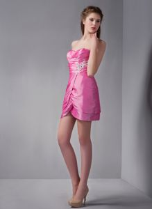 Rose Pink Sweetheart Mini-length Party Dress for Homecoming with Appliques