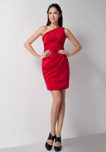 New Arrival Red One Shoulder Homecoming Dresses for Juniors in Mini-length