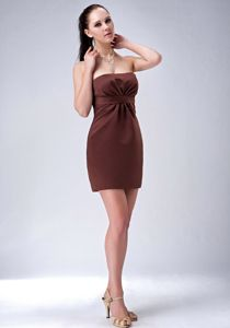 Custom Made Brown Strapless Mini-length Homecoming Court Dress in Dayton