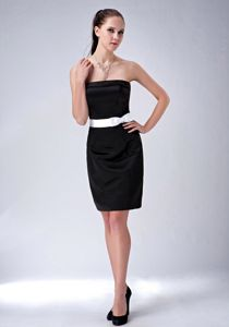 Chic Black Strapless Mini-length Vintage Homecoming Dresses with Belt in Kent