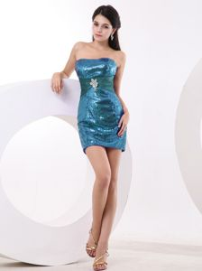 Sequined Teal Strapless Mini-length Homecoming Princess Dresses in Parsippany