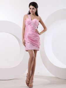 Discount Pink One Shoulder Mini-length Evening Homecoming Dress in Teaneck