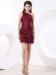 Wine Red One Shoulder Mini-length Sparkly Homecoming Dress in Birmingham